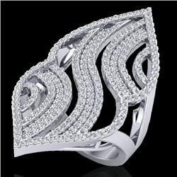 2 CTW Micro Pave VS/SI Diamond Certified Designer Ring 14K White Gold - REF-160F9M - 20869