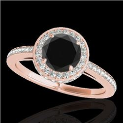 1.55 CTW Certified Vs Black Diamond Solitaire Halo Ring 10K Rose Gold - REF-86M9F - 34278