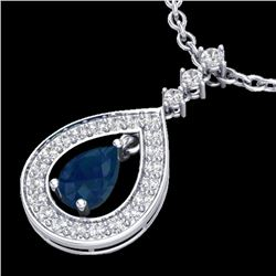 1.15 CTW Sapphire & Micro Pave VS/SI Diamond Necklace Designer 14K White Gold - REF-60H9W - 23170