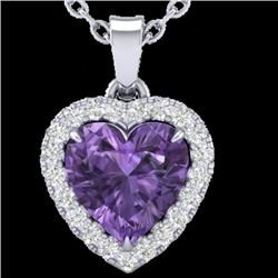 1 CTW Amethyst & Micro VS/SI Diamond Heart Necklace Heart Halo 14K White Gold - REF-28W4H - 21333