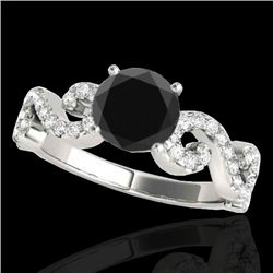 1.4 CTW Certified Vs Black Diamond Solitaire Ring 10K White Gold - REF-65H6W - 35244