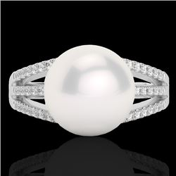 0.30 CTW Micro Pave VS/SI Diamond Certified & Pearl Designer Ring 18K White Gold - REF-49T6X - 22629