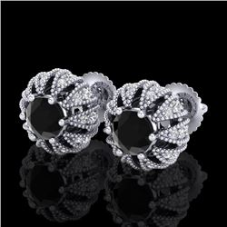 2.01 CTW Fancy Black Diamond Art Deco Micro Pave Stud Earrings 18K White Gold - REF-143R6K - 37730