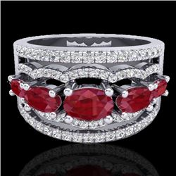 2.25 CTW Ruby & Micro Pave VS/SI Diamond Certified Designer Ring 10K White Gold - REF-71W3H - 20802