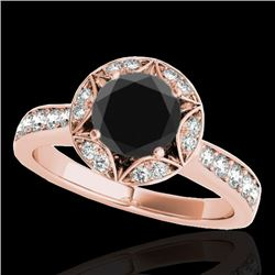 1.5 CTW Certified Vs Black Diamond Solitaire Halo Ring 10K Rose Gold - REF-77F3M - 34233