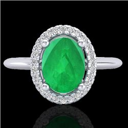 2 CTW Emerald & Micro Pave VS/SI Diamond Ring Solitaire Halo 18K White Gold - REF-56F9M - 21009