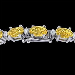 12 CTW Citrine & VS/SI Diamond Certified Eternity Bracelet 10K White Gold - REF-72H5W - 21446