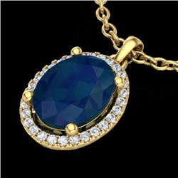 3 CTW Sapphire & Micro Pave VS/SI Diamond Certified Necklace Halo 18K Yellow Gold - REF-59F3M - 2109