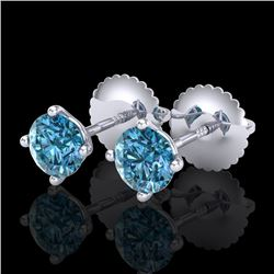 0.65 CTW Fancy Intense Blue Diamond Art Deco Stud Earrings 18K White Gold - REF-81K8R - 38223