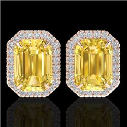 8.40 CTW Citrine & Micro Pave VS/SI Diamond Halo Earrings 14K Rose Gold - REF-64N5Y - 21221