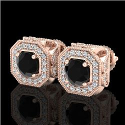 2.75 CTW Fancy Black Diamond Solitaire Art Deco Stud Earrings 18K Rose Gold - REF-178M2F - 38284