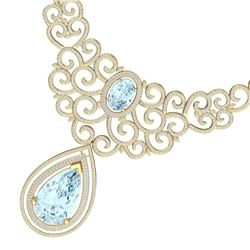 89.32 CTW Royalty Sky Topaz & VS Diamond Necklace 18K Yellow Gold - REF-1563H6W - 39847