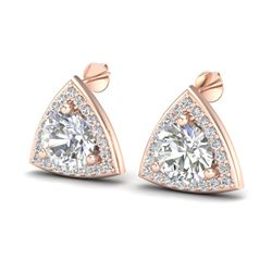 3 CTW VS/SI Diamond Certified Stud Earrings 14K Rose Gold - REF-819W5H - 20187