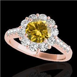 2 CTW Certified Si Fancy Intense Yellow Diamond Solitaire Halo Ring 10K Rose Gold - REF-207W3H - 334