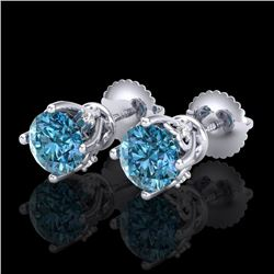 1.26 CTW Fancy Intense Blue Diamond Art Deco Stud Earrings 18K White Gold - REF-127R3K - 37789