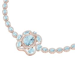 47.72 CTW Royalty Sky Topaz & VS Diamond Necklace 18K Rose Gold - REF-818Y2N - 39340