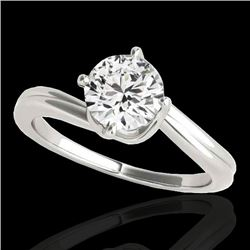 1 CTW H-SI/I Certified Diamond Bypass Solitaire Ring 10K White Gold - REF-141F3M - 35032