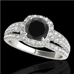 2.25 CTW Certified Vs Black Diamond Solitaire Halo Ring 10K White Gold - REF-106R5K - 34010
