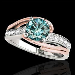 1.5 CTW SI Certified Fancy Blue Diamond Bypass Solitaire Ring 2 Tone 10K White & Rose Gold - REF-218