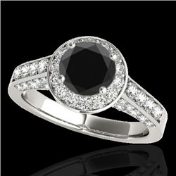 2.56 CTW Certified Vs Black Diamond Solitaire Halo Ring 10K White Gold - REF-120W2H - 34054