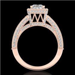 3.5 CTW Princess VS/SI Diamond Solitaire Micro Pave Ring 18K Rose Gold - REF-581K8R - 37167
