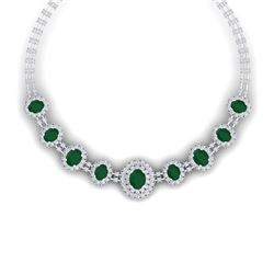 45.69 CTW Royalty Emerald & VS Diamond Necklace 18K White Gold - REF-1618R2K - 38790
