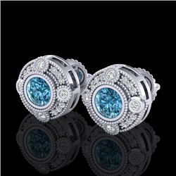 1.5 CTW Fancy Intense Blue Diamond Art Deco Stud Earrings 18K White Gold - REF-178F2M - 37698