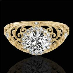 1.22 CTW H-SI/I Certified Diamond Solitaire Halo Ring 10K Yellow Gold - REF-170H9W - 33780