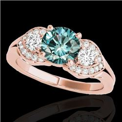 1.45 CTW SI Certified Fancy Blue Diamond 3 Stone Ring 10K Rose Gold - REF-180K2R - 35337
