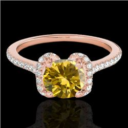 1.33 CTW Certified Si Fancy Intense Yellow Diamond Solitaire Halo Ring 10K Rose Gold - REF-163K5R -