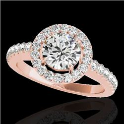 1.65 CTW H-SI/I Certified Diamond Solitaire Halo Ring 10K Rose Gold - REF-180N2Y - 33473