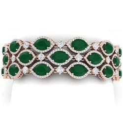 52.84 CTW Royalty Emerald & VS Diamond Bracelet 18K Rose Gold - REF-1181H8W - 38887