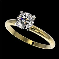 1 CTW Certified H-SI/I Quality Diamond Solitaire Engagement Ring 10K Yellow Gold - REF-134M2F - 3288