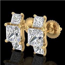 3.08 CTW Princess VS/SI Diamond Art Deco Stud Earrings 18K Yellow Gold - REF-630N2Y - 37201