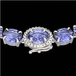 80 CTW Tanzanite & VS/SI Diamond Tennis Micro Halo Necklace 14K White Gold - REF-763Y8N - 23477