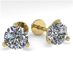1.53 CTW Certified VS/SI Diamond Stud Earrings 14K Yellow Gold - REF-291M3F - 30572