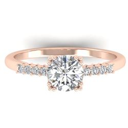 0.93 CTW Certified VS/SI Diamond Solitaire Art Deco Ring 14K Rose Gold - REF-171M3F - 30457