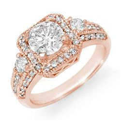2.0 CTW Certified VS/SI Diamond Ring 14K Rose Gold - REF-531X3T - 14545