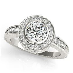 1.11 CTW Certified VS/SI Diamond Solitaire Halo Ring 18K White Gold - REF-216T2X - 26649