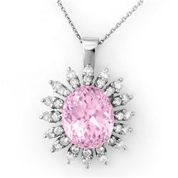 8.68 CTW Kunzite & Diamond Necklace 18K White Gold - REF-150W9H - 10345