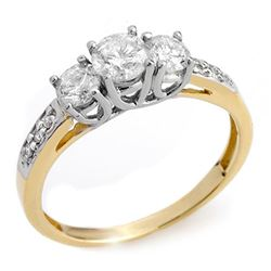 1.0 CTW Certified VS/SI Diamond Ring 14K 2-Tone Gold - REF-87K5R - 10196