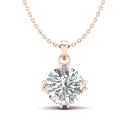 1 CTW VS/SI Diamond Solitaire Art Deco Stud Necklace 18K Rose Gold - REF-294W2H - 36915