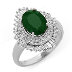 2.58 CTW Emerald & Diamond Ring 18K White Gold - REF-69Y6N - 13400