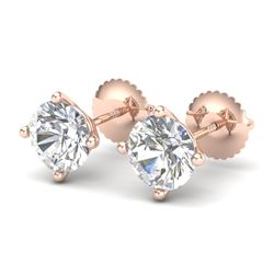 2 CTW VS/SI Diamond Solitaire Art Deco Stud Earrings 18K Rose Gold - REF-540T2X - 37305