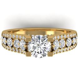 2.55 CTW Certified VS/SI Diamond Art Deco Micro Ring 14K Yellow Gold - REF-431X5T - 30299