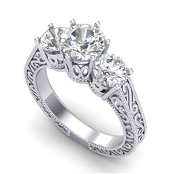 2.01 CTW VS/SI Diamond Solitaire Art Deco 3 Stone Ring 18K White Gold - REF-527R3K - 36929