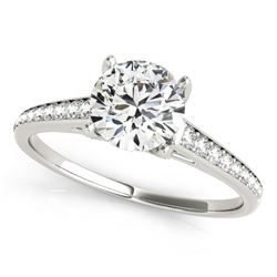 1.5 CTW Certified VS/SI Diamond Solitaire Ring 18K White Gold - REF-394T2X - 27462
