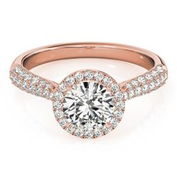 1.4 CTW Certified VS/SI Diamond Solitaire Halo Ring 18K Rose Gold - REF-380R2K - 26186