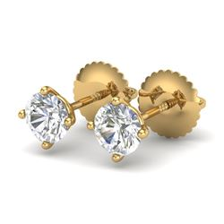 0.65 CTW VS/SI Diamond Solitaire Art Deco Stud Earrings 18K Yellow Gold - REF-97M3F - 37297