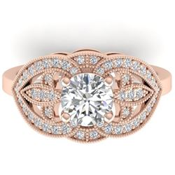 1.5 CTW Certified VS/SI Diamond Art Deco Micro Ring 14K Rose Gold - REF-376T2X - 30511